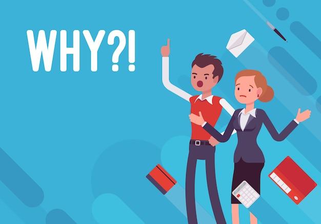 Por qué. ilustración de desmotivación empresarial