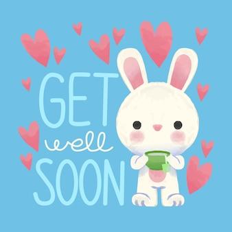 Que te mejores pronto con conejito y corazones