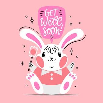 Que te mejores pronto mensaje con conejo