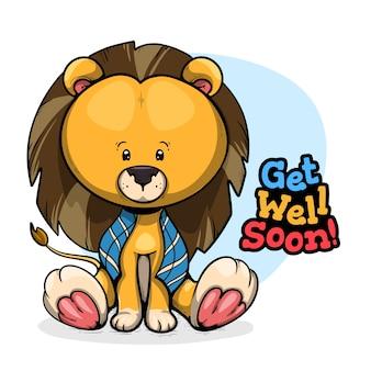 Que te mejores pronto mensaje con león