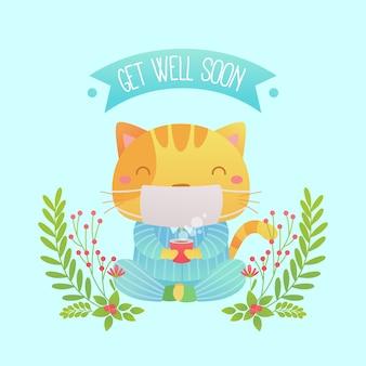 Que te mejores pronto mensaje con lindo gato