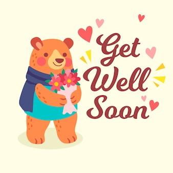 Que te mejores pronto con oso y flor