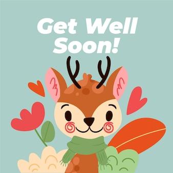 Que te mejores pronto tarjeta con renos lindos