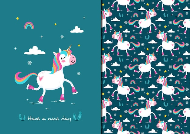 Que tengas un buen día patinando sobre hielo patrón de unicornio
