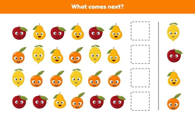 Que viene despues. continúe la secuencia. frutas hoja de trabajo para niños en edad preescolar, preescolar y escolar.