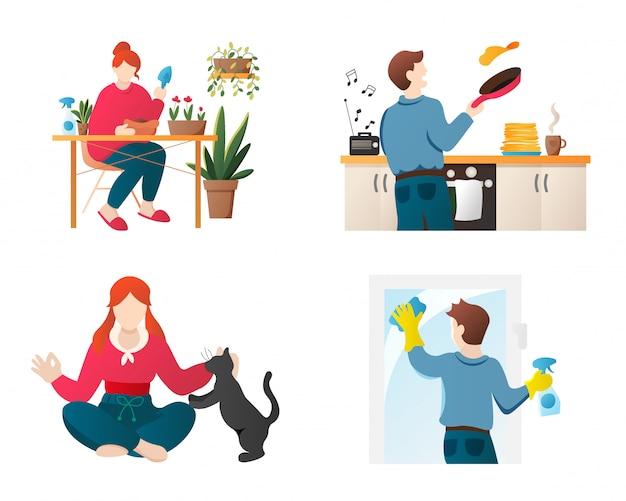 Quedarse en casa aficiones personas personajes de dibujos animados conjunto.