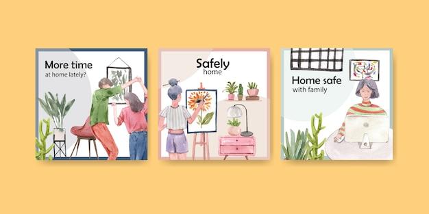 Quedarse en casa anunciar el concepto con el carácter de las personas hacer actividad, dibujo, fiesta e ilustración de acuarela diseño de acuarela