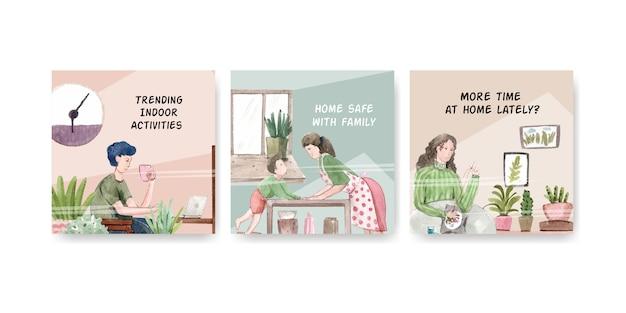 Quedarse en casa anunciar concepto con carácter de personas hacer actividad ilustración diseño de acuarela