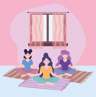 Quedarse en casa, chicas en meditación de yoga en estera