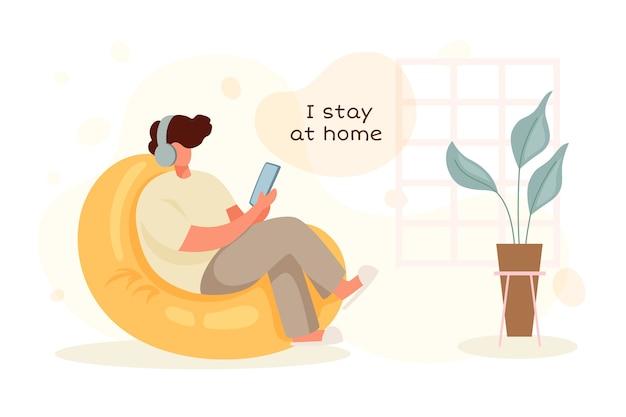 Quedarse en casa concepto con hombre