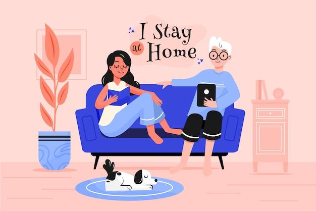 Quedarse en casa concepto de ilustración
