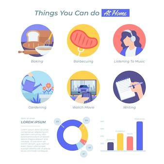 Quedarse en casa concepto infografía