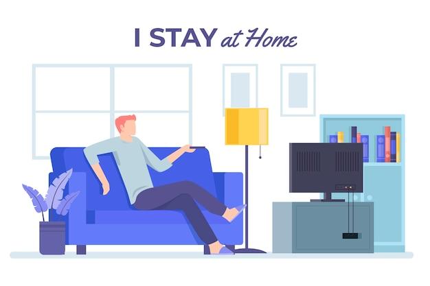 Quedarse en casa concepto viendo la televisión