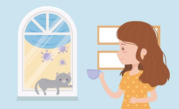 Quedarse en casa en cuarentena, mujer con taza de café y gato descansando en la ventana
