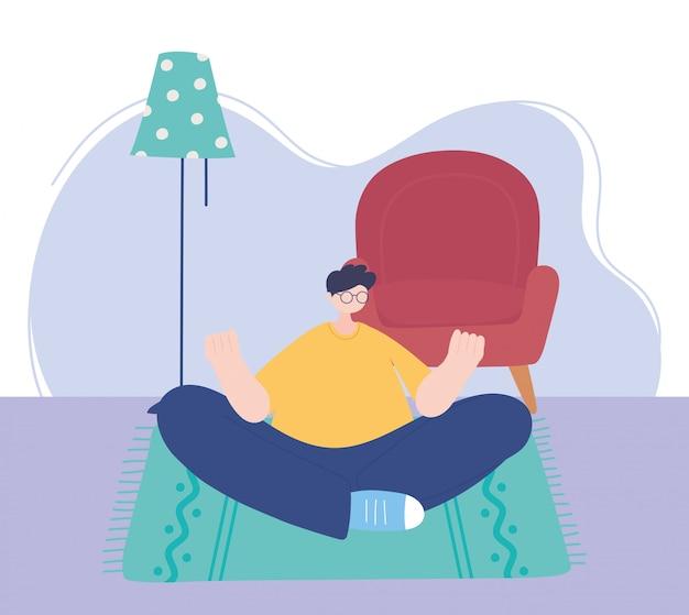 Quedarse en casa, hombre meditación yoga en la habitación, autoaislamiento, actividades en cuarentena por coronavirus
