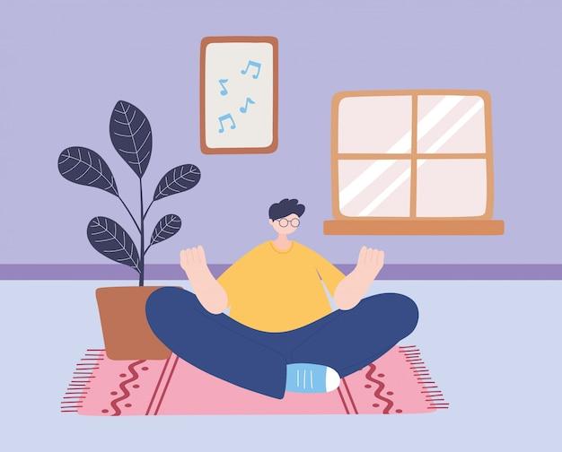 Quedarse en casa, hombre en meditación de yoga, pose en la habitación, autoaislamiento, actividades en cuarentena por coronavirus