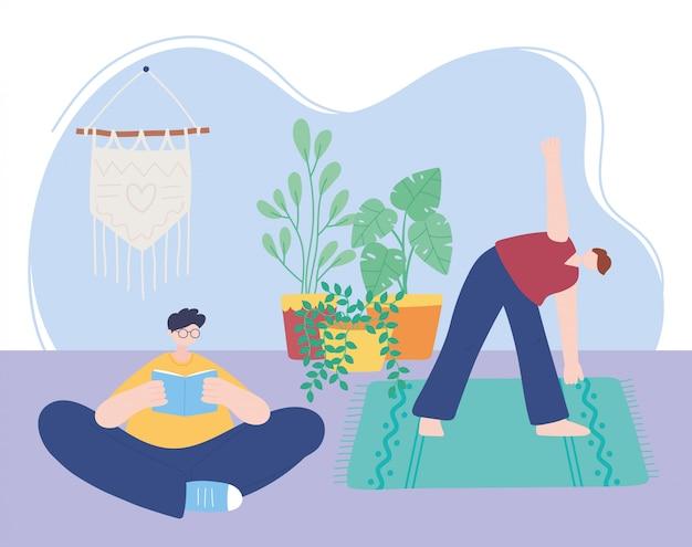 Quedarse en casa, hombre practicando yoga y niño con libro en la habitación, autoaislamiento, actividades en cuarentena por coronavirus