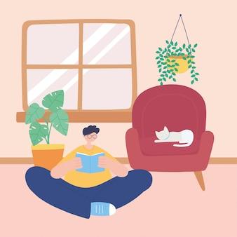 Quedarse en casa, joven leyendo un libro con un gato en una silla en la habitación