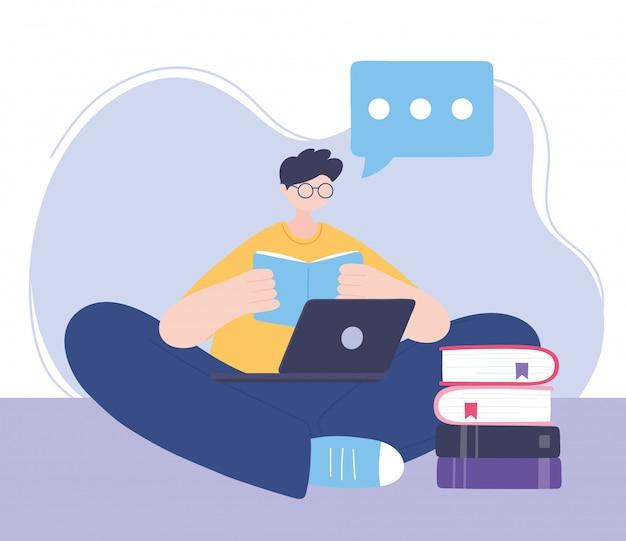 Quedarse en casa, leer un libro con una computadora portátil, autoaislamiento, actividades en cuarentena por coronavirus