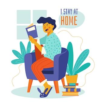 Quedarse en casa leyendo el concepto en el sofá