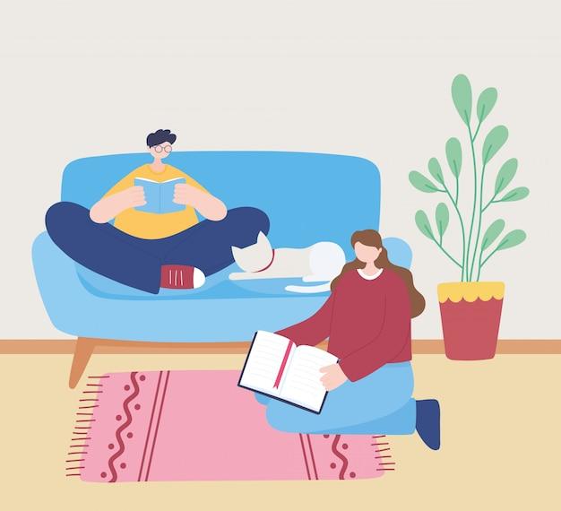Quedarse en casa, libro de lectura de niñas y niños en el sofá con gato, autoaislamiento, actividades en cuarentena por coronavirus