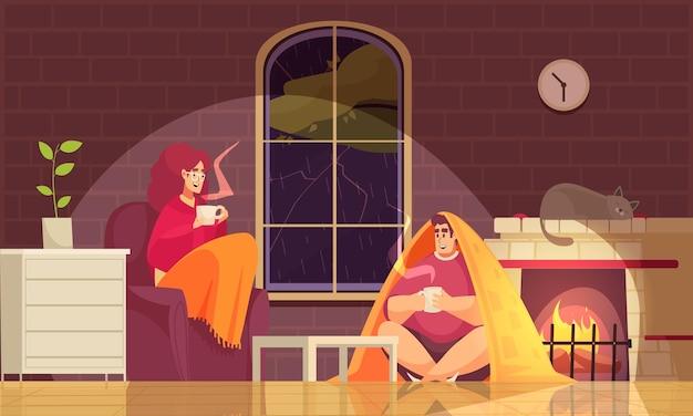 Quedarse en casa con mal tiempo ilustración con pareja envuelta en mantas bebiendo bebida caliente