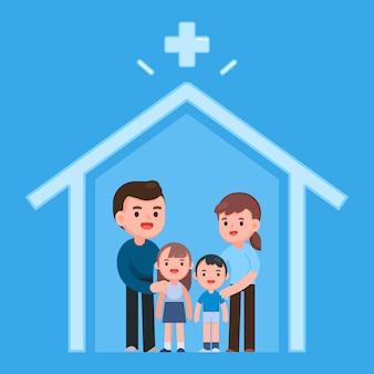 Quedarse en casa, mantenerse seguro, familia con niños, protegerse del nuevo coronavirus covid-2019. cuarentena en casa, ilustración.