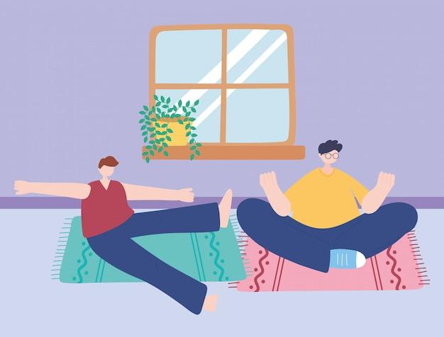 Quedarse en casa, la meditación de los hombres posa yoga en la habitación, autoaislamiento, actividades en cuarentena por coronavirus