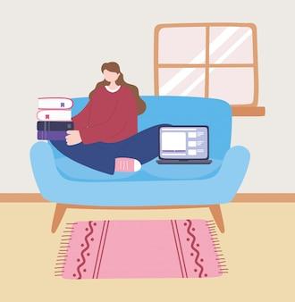 Quedarse en casa, niña con laptop y pila de libros en el sofá, autoaislamiento, actividades en cuarentena por coronavirus