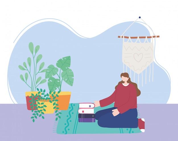 Quedarse en casa, niña con libros y plantas de interior, autoaislamiento, actividades en cuarentena por coronavirus