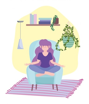 Quedarse en casa, niña en meditación posar en una silla, autoaislamiento, actividades en cuarentena por coronavirus