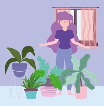 Quedarse en casa, niña con plantas de interior jardinería