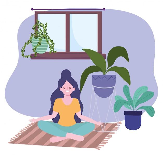 Quedarse en casa, niña en pose de yoga meditación