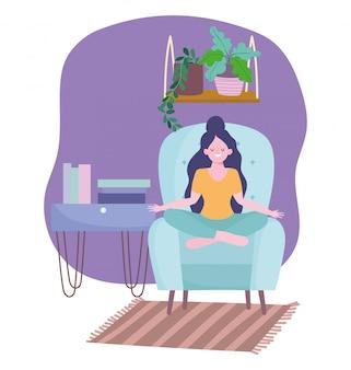 Quedarse en casa, niña en pose de yoga en silla con libros y plantas