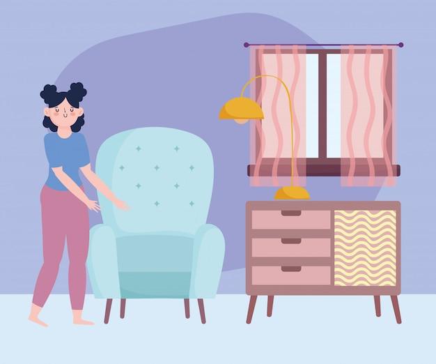 Quedarse en casa, niña con silla, lámpara de muebles en la habitación