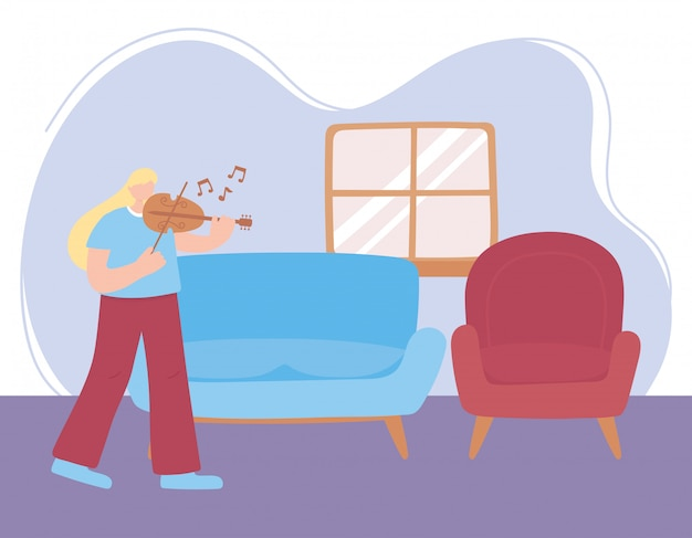 Quedarse en casa, niña tocando el violín en la habitación, autoaislamiento, actividades en cuarentena por coronavirus