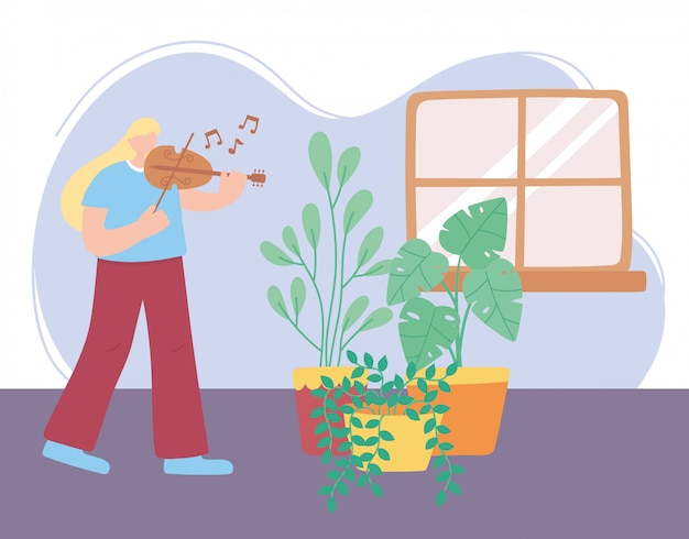 Quedarse en casa, niña tocando el violín en la habitación con plantas, autoaislamiento, actividades en cuarentena por coronavirus