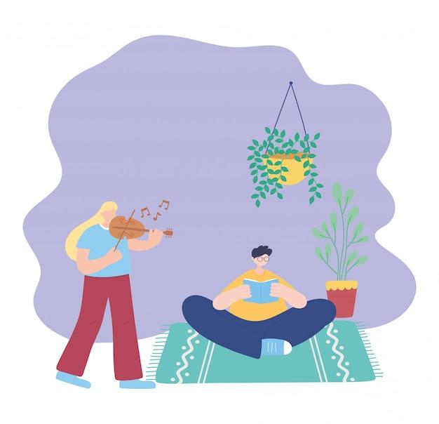 Quedarse en casa, niña tocando el violín y el hombre leyendo un libro en la habitación, autoaislamiento, actividades en cuarentena por coronavirus
