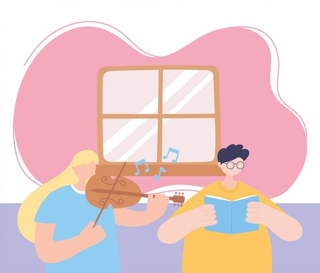Quedarse en casa, niña tocando el violín y el niño leyendo un libro en la habitación, autoaislamiento, actividades en cuarentena por coronavirus