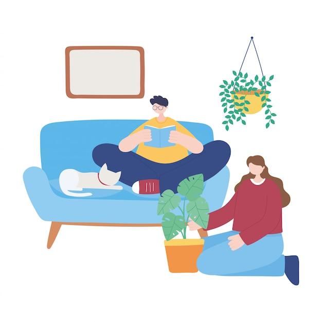 Quedarse en casa, niño leyendo libro y niña con planta