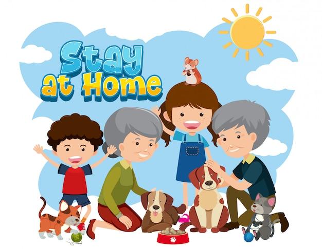 Quedarse en casa con personas mayores y niños