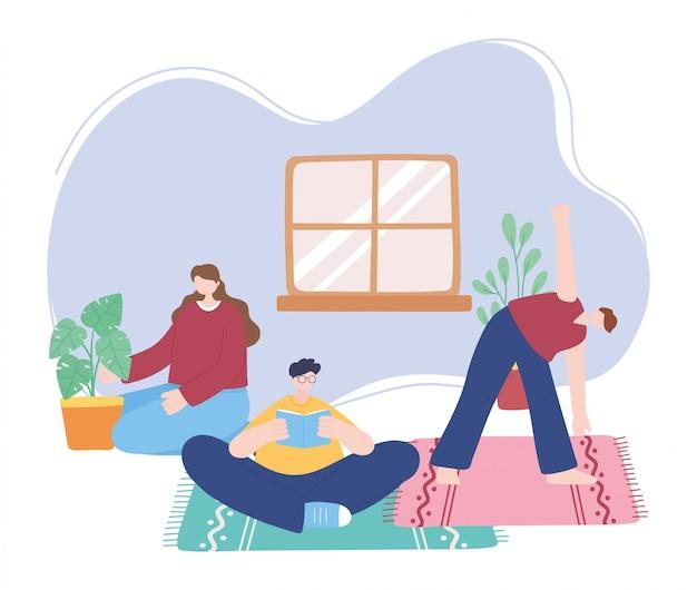 Quedarse en casa, personas que realizan diferentes actividades, autoaislamiento, cuarentena por coronavirus