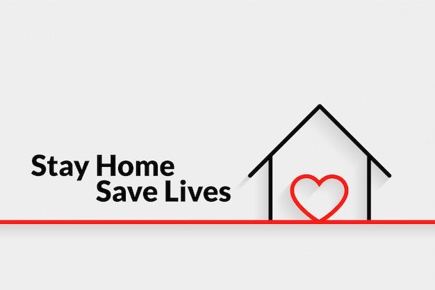 Quedarse en casa salvar vidas diseño minimalista del cartel