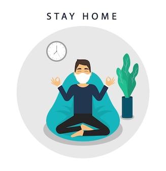 Quédate en casa banner. mantenerse a salvo. cuarentena. el hombre medita en casa. coronavirus 2019-ncov.