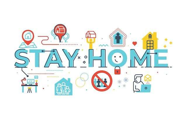 Quédate en casa palabra ilustración de letras