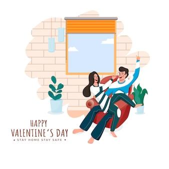 Quédate en casa y seguro en el diseño de carteles basados en el día de san valentín con un personaje de pareja joven y amorosa