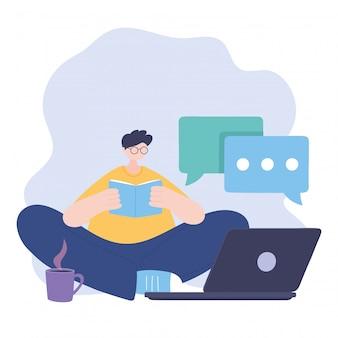 Quédese en casa, chico leyendo un libro con una computadora portátil y una taza de café, auto aislamiento, actividades en cuarentena por coronavirus