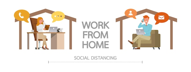 Quédese en casa durante la epidemia de coronavirus. concepto de distanciamiento social y autoaislamiento. hombre y mujer trabajando en casa.