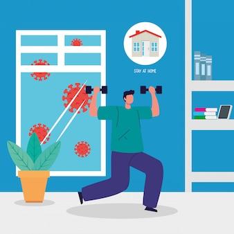 Quédese en casa, hombre practicando ejercicio, cuarentena o autoaislamiento