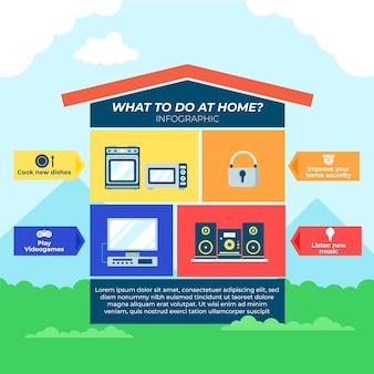 Quédese en casa infografía en diseño plano